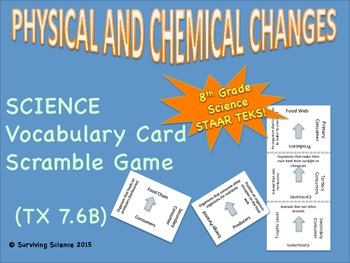 Science Vocabulary Scramble: Physical and Chemical Changes