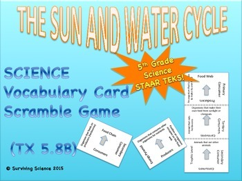 Science Vocabulary Scramble: The Sun and Water Cycle (TX T