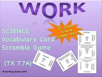 Science Vocabulary Scramble: Work (TX TEKS 7.7A)