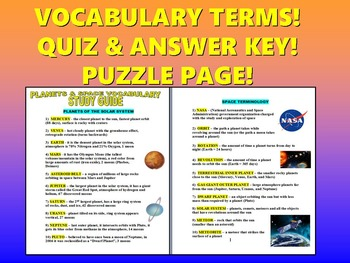 Science Vocabulary : Planets & Space (Quiz / Study Guide /