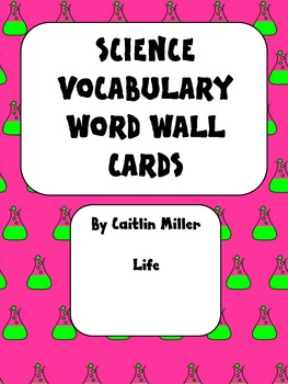 Science Vocabulary Word Wall Cards Life