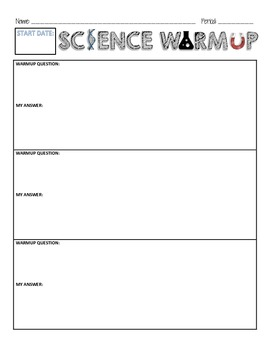 Science Warmup Sheet (start date only)