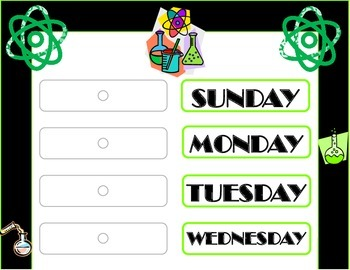Science Weekday Chart! Science Bulletin Board! Science The
