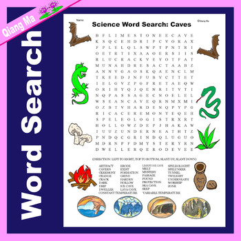 Science Word Search: Caves