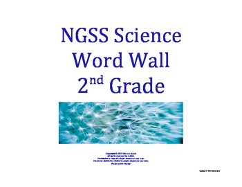 Science Word Wall 2nd Second Grade Vocabulary NGSS Nationa