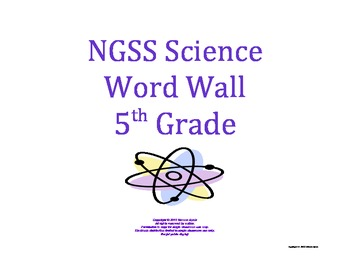 Science Word Wall 5th Fifth Grade Vocabulary NGSS National