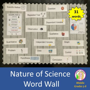 Science Word Wall Bulletin Board (31 Nature of Science wor