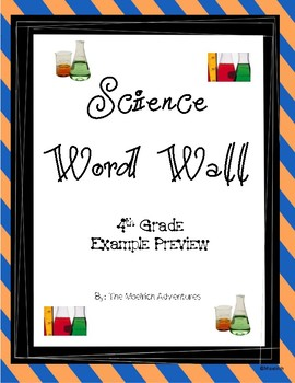 Science Word Wall - Virginia (SOL 4th grade [4.1 to 4.5] aligned)