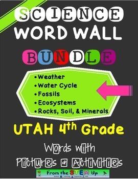 Science Word Wall Words & Activities BUNDLE: Utah 4th grad