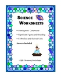 Science Worksheets: Significant Figures, Ions Naming and more