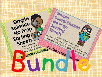 Science and Social Studies No Prep Sorting Sheets: BUNDLE!!