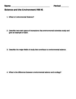 Science and the Environment Homework Assignment 1