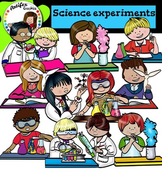 Science experiments clip Art -Color and B&W-