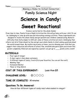 Science in Candy: Sweet Reactions! Family Science Experiment