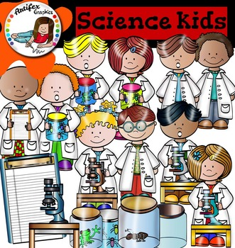Science kids clip art - Color and black/white- 58 items!