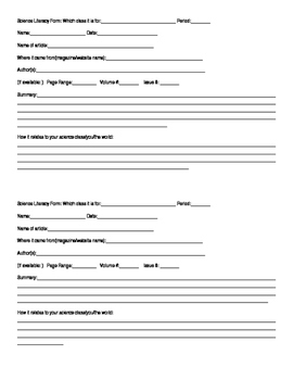 Science literacy form