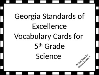 Science vocabulary cards for 5th grade Georgia Standards o