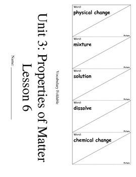 ScienceFusion 3rd grade Unit 3 Lesson 6 Vocabulary Foldabl