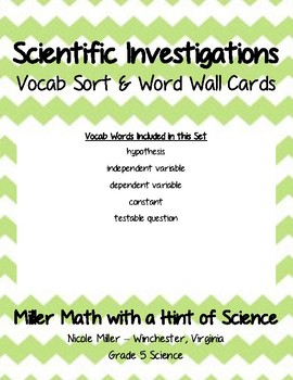 Scientific Investigations Vocab Sort and Word Wall Cards