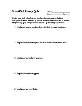 Scientific Literacy Quiz