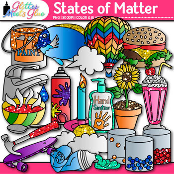 States of Matter Clip Art {Science Graphics for Solids, Li