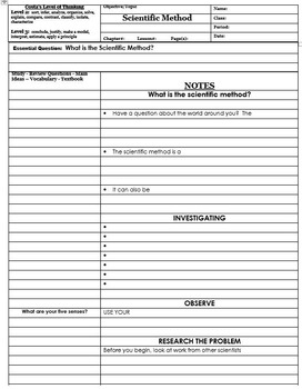 Scientific Method AVID cornell notes - (How Scientists Work)