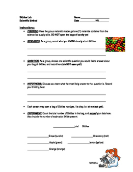 Scientific Method Lab: Skittles Data