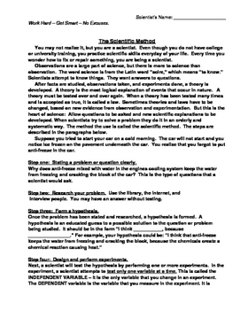 Scientific Method Reading Comprehension