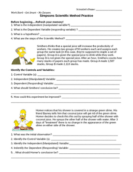 Scientific Method Simpsons Practice