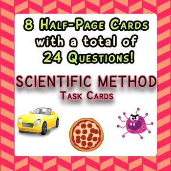 Scientific Method Task Cards 8 Half-Page Cards with 24 Que