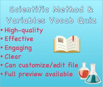 Scientific Method & Variables Vocabulary Quiz