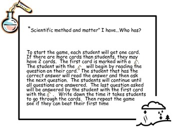 Scientific Method and Matter I have...Who has? Game
