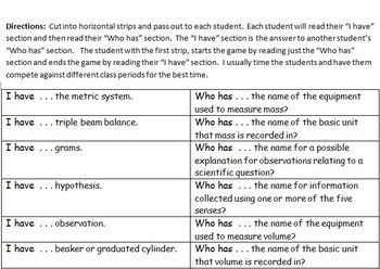 "Scientific Method and Process Skills Review Game - ""I have"