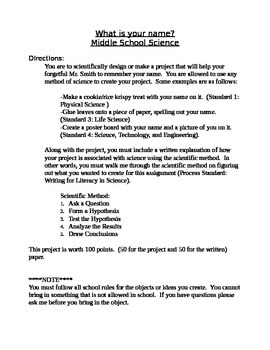 Scientific Method and learn your students name project