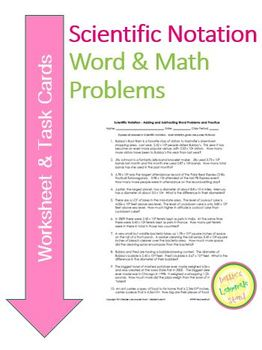 Scientific Notation - Add and Subtract Worksheet & Task Ca