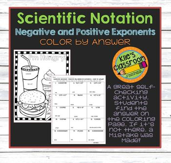 Scientific Notation Color By Answer - Negative and Positiv