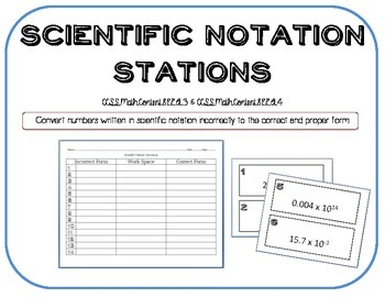 Scientific Notation Gallery Walk Task Cards
