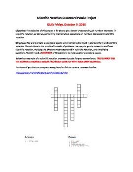 Scientific Notation Crossword Puzzles