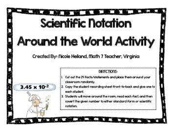 Scientific Notation Facts - Around the World Activity