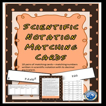 Scientific Notation Matching Card Set