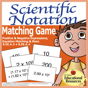 Scientific Notation - Matching Game Fun for Math Stations
