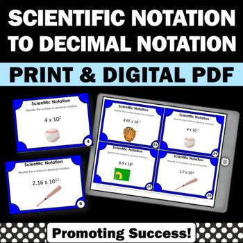 Scientific Notation as Decimals Task Cards