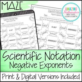 Scientific Notation Maze ~ Negative Exponents