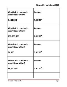 Scientific Notation Quiz-Quiz-Trade or Showdown (+ Exponen
