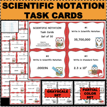 Scientific Notation Task Card Set of 30 Flashcard Review P