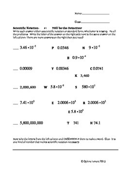 Scientific Notation Puzzle Decode Worksheet:  You be the D
