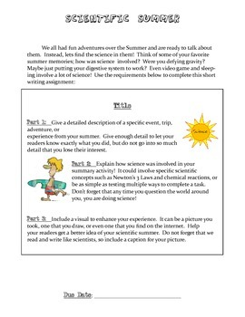 Scientific Summer Writing Response