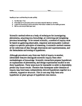 Scientific method: reading to learn and marking the text