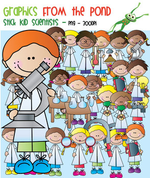 Scientist Stick Kids - Clipart for Teaching