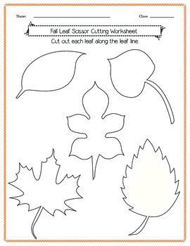 Scissor Cutting Fall Leaves Worksheet